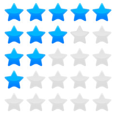 Blue star rating vector graphic