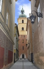 St. Martin's Church, old town in Warsaw, Poland