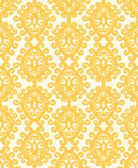 Vintage seamless pattern. Golden yellow.