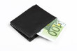 Wallet with euro banknotes isolated with clipping path