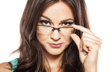 portrait of a beautiful brunette with glasses