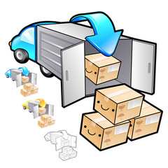Delivery Item drop off truck Illustration. Product and Distribut