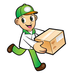 Green Delivery Man mascot moving a box. Product and Distribution
