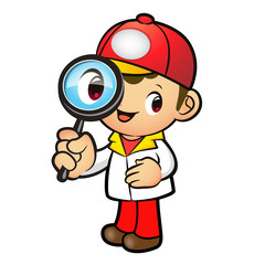 Red Delivery Man mascot examine a with a magnifying glass. Produ