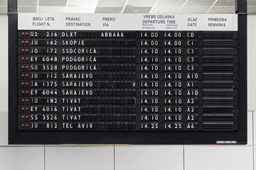 Flight information display at Belgrade airport Nikola Tesla