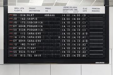 Flight information display at Belgrade airport Nikola Tesla