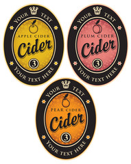 set of labels for different types of cider