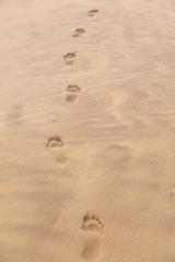 Barefoot prints on sandy beach