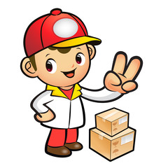 Red Delivery Man taking the victory of Gesture. Product and Dist