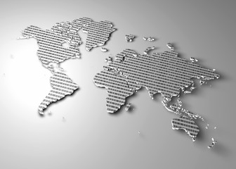Mappa del mondo con numeri binari come texture