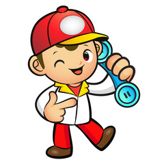 Red Delivery Man Mascot To answer a phone call orders. Product a