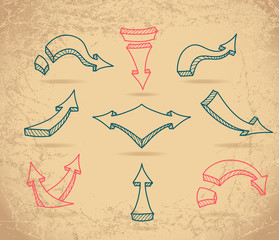 Set Sketch arrows on beige grunge background
