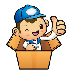 Blue Delivery Man Mascot the hand best gesture in cardboard boxe