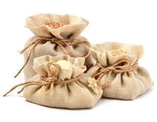 Rice, barley and buckwheat in cloth sacks