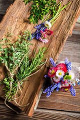 Flowers and herbs on old bark
