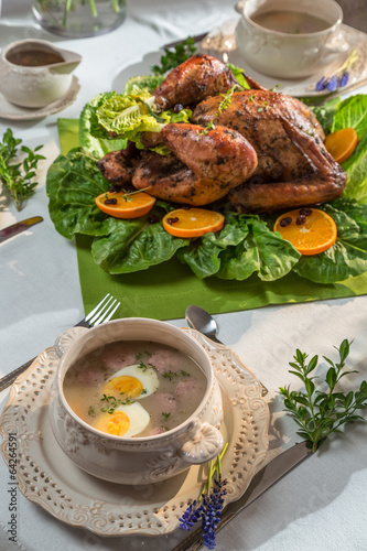 "Roasted turkey for Thanksgiving served with soup"" Imagens e fotos de ..."