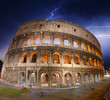 Beautiful dramatic sky over Colosseum in Rome