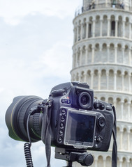 Modern Camera immortalizing Leaning Tower of Pisa