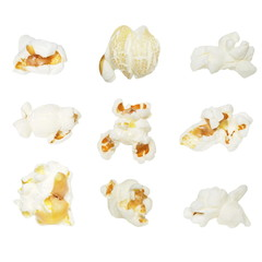 Macro popcorn isolated on white background