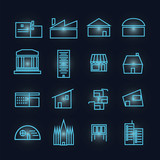 glyph building Icon Set poster