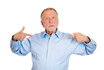 Arrogance. Self inflated senior man isolated on white background