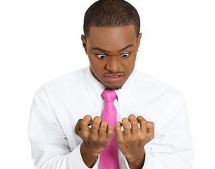 OCD. Portrait of obsessive compulsive person checking his nails