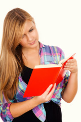 beatiful woman is reading book