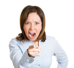 Portrait Yelling woman blaming someone, on white background