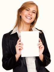 beautiful business woman with a card