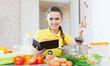 woman cooking  veggie food