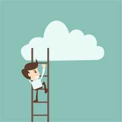 businessman climbing on ladder to drawing cloud
