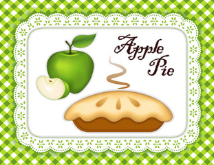 Pie, Green Apple, Lace Doily Place Mat, Gingham Check Background