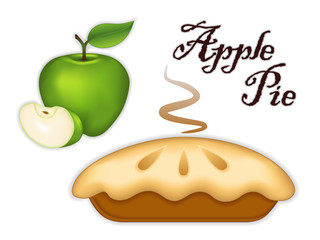 Green Apple Pie, fresh, baked sweet dessert, healthy ripe fruit