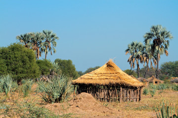 Traditional rural African wood and thatch hut