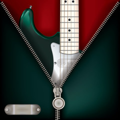 abstract music green background with guitar and open zipper