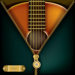 abstract music background with guitar and open zipper