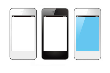 Smartphones on white background