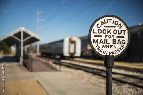 Fotobehang Texas Old Railroad Caution Sign