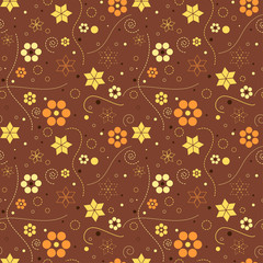 Autumn floral geometric pattern