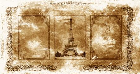 Vintage paper view of Paris