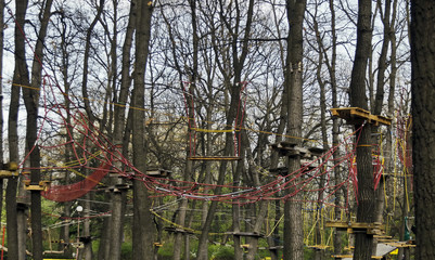 Fragment of rope sports facilities at adventure park