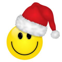 Lustiger gelber Smiley mit Weihnachtsmütze – Vektor/freigestellt