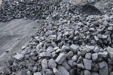 A Stock of Coal at a Steam Train Siding.