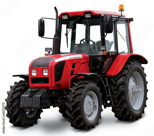Leinwanddruck Bild Red tractor isolated on white background