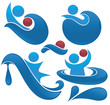 vector collection of aqua park and swimming actions symbols