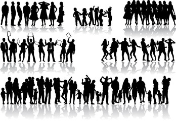Large collection. Silhouettes of people concept.