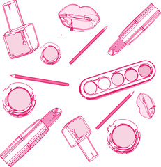 Isolated beautiful cosmetics and brushes for women