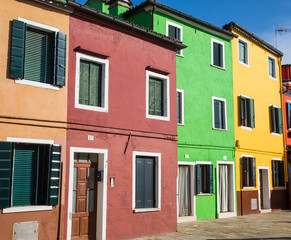 Red Green and Yellow Homes in Burano