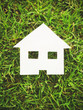 Paper house on green