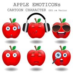 Apple emoticon cartoon character eps 10 vector